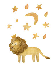 Watercolor set with cute lion king and stars. Wild cat and moon isolated on white. Children cartoon set perfect for cards, prints, posters, design, fabric.