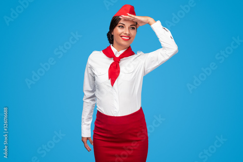 Cheerful flight attendant looking away Canvas Print