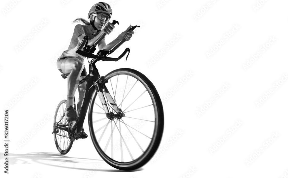 Fototapeta Sport. Athlete cyclists in silhouettes on white background. Isolated.