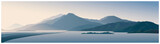 Fototapeta Fototapety z naturą - Mountain panoramic landscape with the silhouettes of the mountains against the dawn
