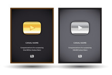 Golden And Silver Play Youtube Award Buttons Set In Frames. Gold Button Video Player. Silver Button Video Player. Isolated Vector Illustration.