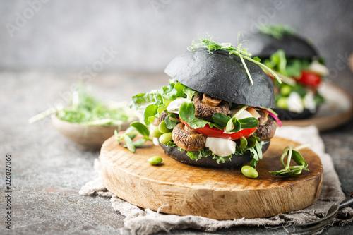 Veggie mushroom, green salad and vegetable black burgers Canvas Print