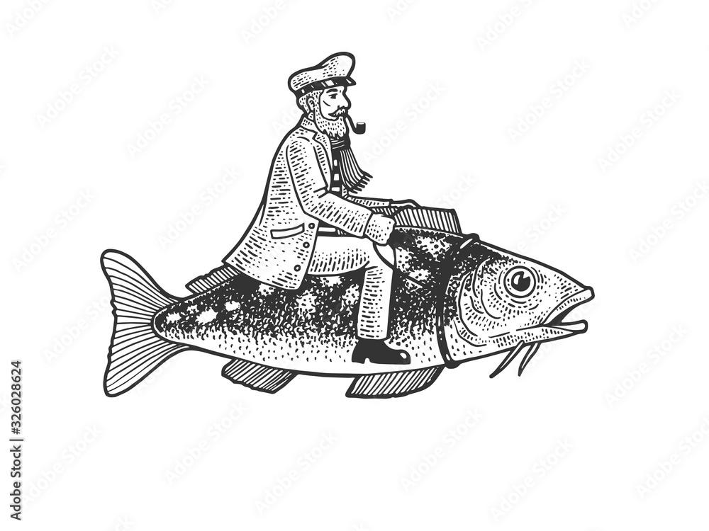 Fototapeta Fisherman captain riding fish sketch engraving vector illustration. T-shirt apparel print design. Scratch board imitation. Black and white hand drawn image.