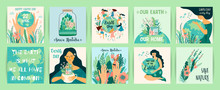 Earth Day. Save Nature. Vector Templates For Card, Poster, Banner, Flyer