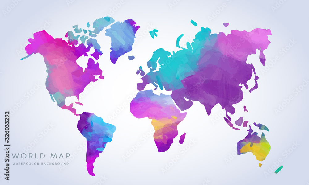 Fototapeta Vector hand drawn vibrant watercolor world map isolated on white background