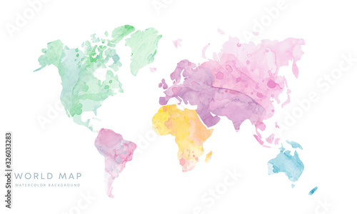 Fototapeta Vector hand drawn light grunge watercolor world map isolated on white background obraz