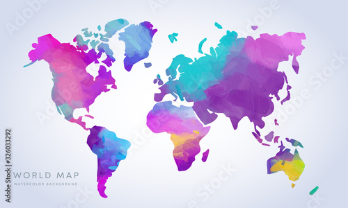 Vector hand drawn vibrant watercolor world map isolated on white background