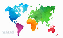 Vector Hand Drawn Watercolor World Map Isolated On White Background