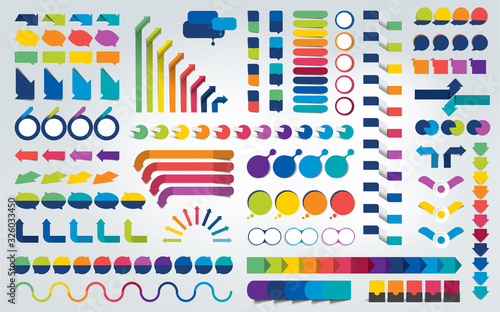Cuadros en Lienzo Big set of infographics design elements. Vector illustration.