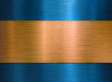 Brushed Polished Bronze Over Blue Metal Background