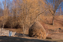 Stack Of Hay In Old Style Prepared For Animals