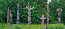First Nation Totem Poles In St...