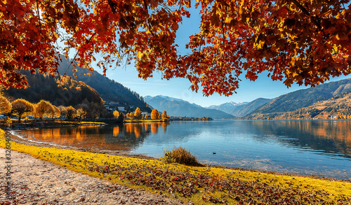 Wall mural - A beautiful view from Lake Zell. Wonderful Autumn landscape in Alps with Zeller Lake in Zell am See, Salzburger Land, Austria. Natural background.