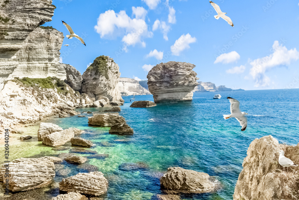 Fototapeta Les falaises de Bonifacio, Corse