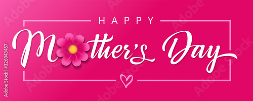 Happy Mothers Day, flower and calligraphy pink banner Canvas-taulu