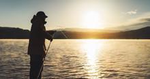 Outline Fisherman Fishing Rod ...