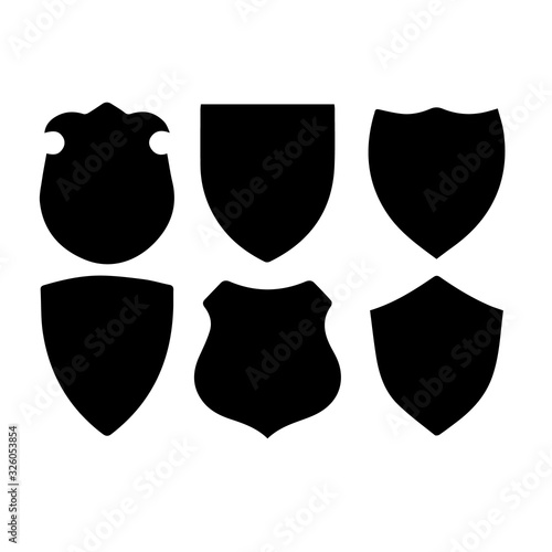 Photo Set of blank empty dark shields shield badge vector shapes icon isolated on whit