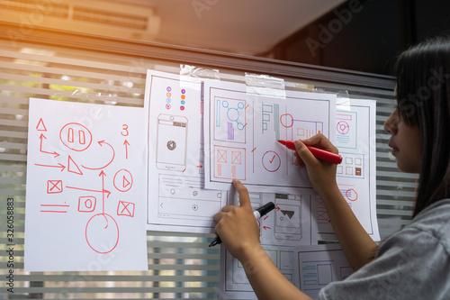 Fotografia Designer web development website template design user ui application on paper or framework layout for pre-production on glass wall