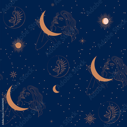 Seamless pattern with woman, moon and stars in one line style Wallpaper Mural