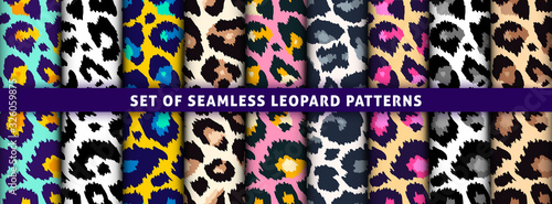 Trendy leopard seamless pattern set Wallpaper Mural