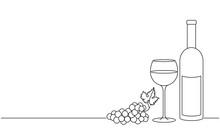 Wine Glass, A Bottle Of Wine A...