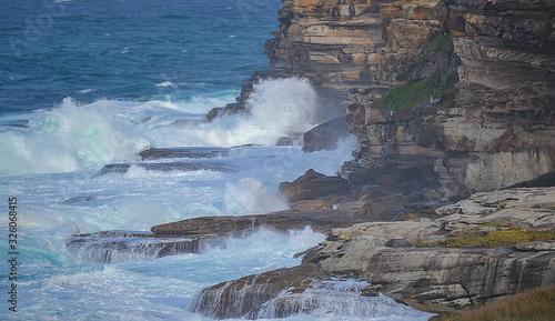 waves crashing on rocks at bondy beach Sydney, Australia, new south Wales Canvas Print