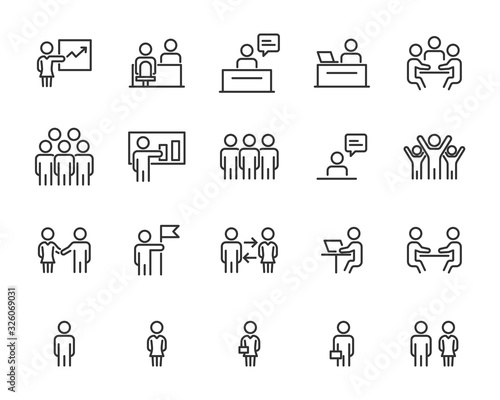 Fotografía set of business icons, teamwork, working, meeting, management