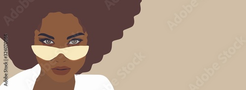 African fashion woman with afro hair.