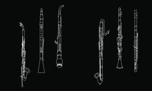 White Outline Alto Clarinet, O...