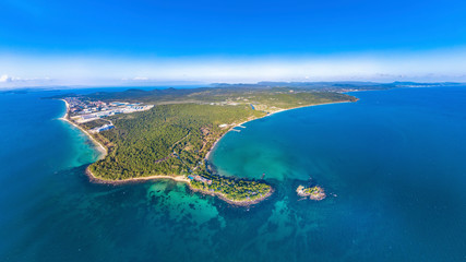 Fototapeta na wymiar Coastal Resort Scenery of Phu Quoc Island (Nam Nghi of Cua Can Region), Vietnam, a Tourism Destination for Summer Vacation in Southeast Asia, with Tropical Climate and Beautiful Landscape. Aerial View