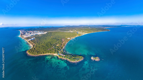 Coastal Resort Scenery of Phu Quoc Island (Nam Nghi of Cua Can Region), Vietnam, a Tourism Destination for Summer Vacation in Southeast Asia, with Tropical Climate and Beautiful Landscape Wallpaper Mural