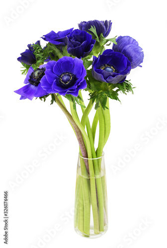 Foto Bouquet of blue anemome flowers in a glass vase