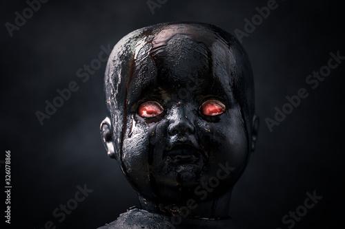 Fotografie, Obraz Creepy bloody doll in the dark