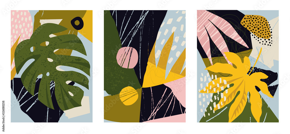 Set of modern posters for home decor, invitation, greeting card designs. Abstract minimalist illustrations with hand drawn design elements, plants, geometric shapes.