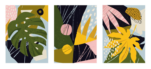 Fototapeta Drzewa Set of modern posters for home decor, invitation, greeting card designs. Abstract minimalist illustrations with hand drawn design elements, plants, geometric shapes.