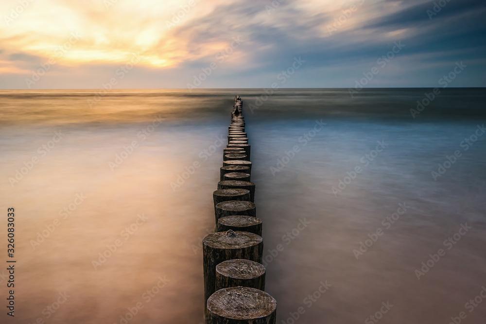 Fototapeta Zachód słońca nad polskim morzem