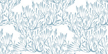 Coral Seaweed In The Ocean Or Tree Branches Seamless Pattern.