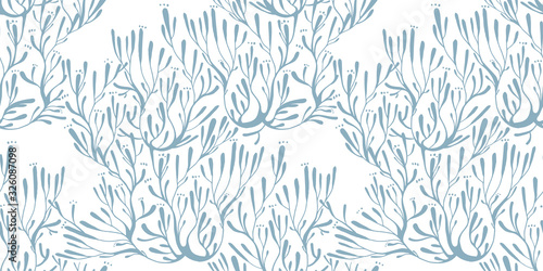 Valokuvatapetti Coral seaweed in the ocean or tree branches seamless pattern.