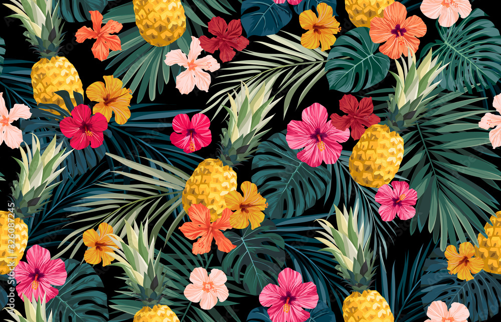 Fototapeta Seamless hand drawn tropical vector pattern with exotic palm leaves, hibiscus flowers, pineapples and various plants on dark background.