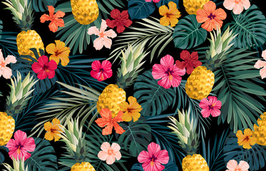 Seamless hand drawn tropical vector pattern with exotic palm leaves, hibiscus...