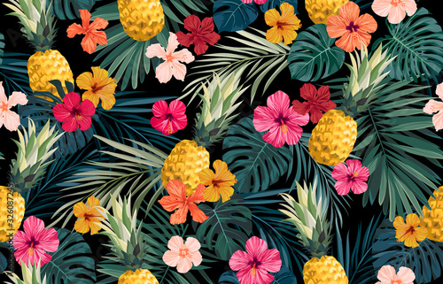 Obraz Seamless hand drawn tropical vector pattern with exotic palm leaves, hibiscus flowers, pineapples and various plants on dark background. - fototapety do salonu