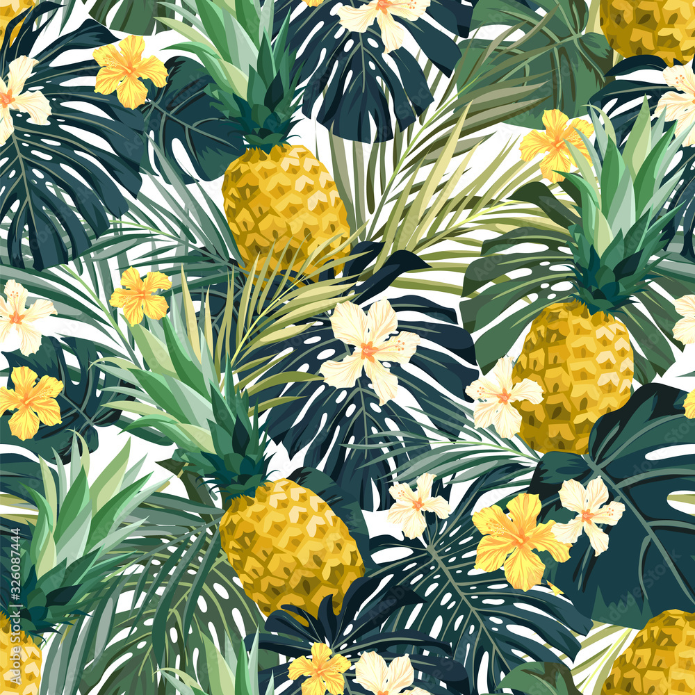 Fototapeta Seamless hand drawn tropical vector pattern with exotic palm leaves, hibiscus flowers, pineapples and various plants on white background.