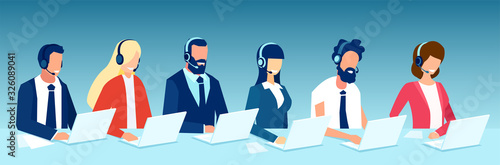 Vector of office employees men and women with headsets