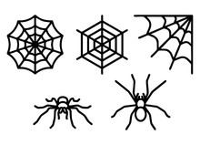 Spiders And Spider Web Set Ico...