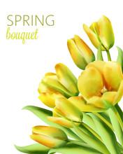 Watercolor Spring Bouquet Of Y...