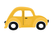Cute Yellow Small Kids Car Iso...