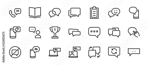 Fotografering Simple set of message line vector line icons