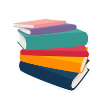 Vector Stack Of Books Isolated On White Background. Colorful Illustration