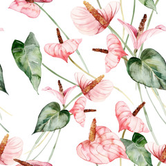 Fototapeta Egzotyczne Seamless pattern with anthuriums watercolor painting