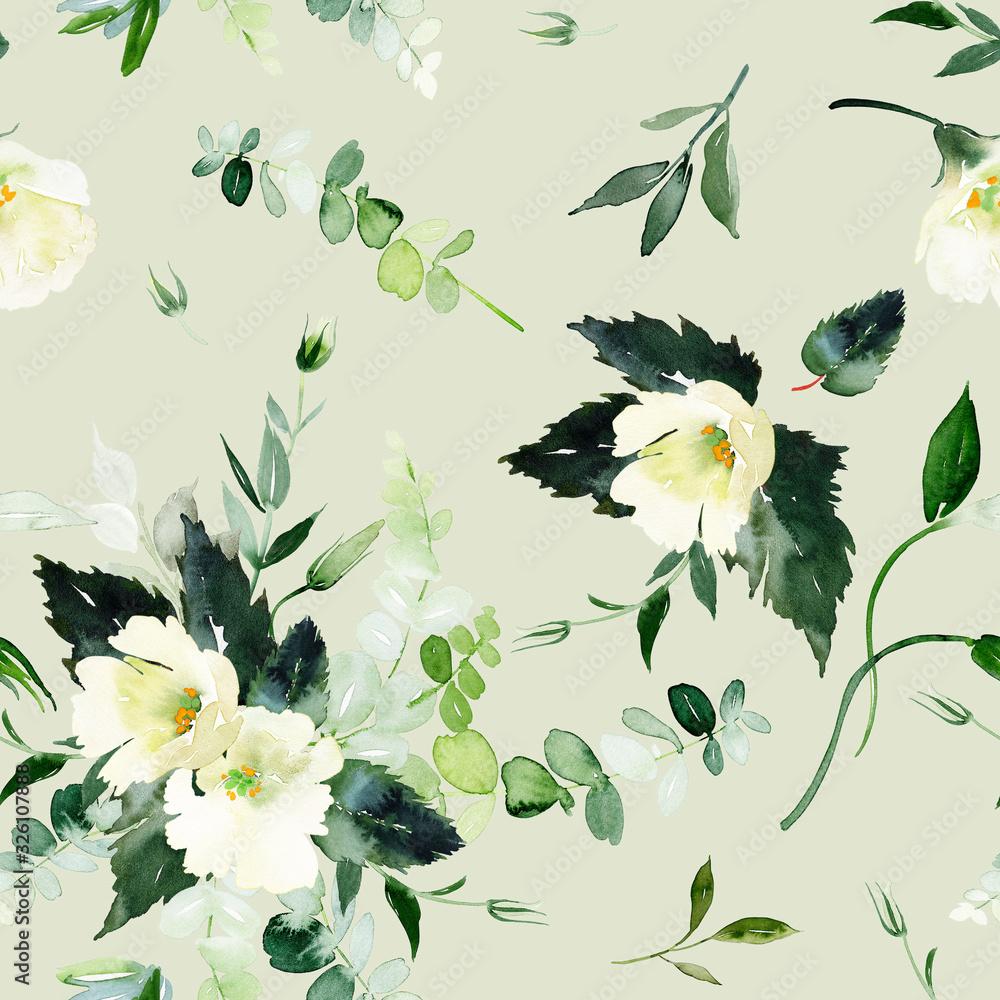 Fototapeta Seamless summer pattern with watercolor flowers handmade.